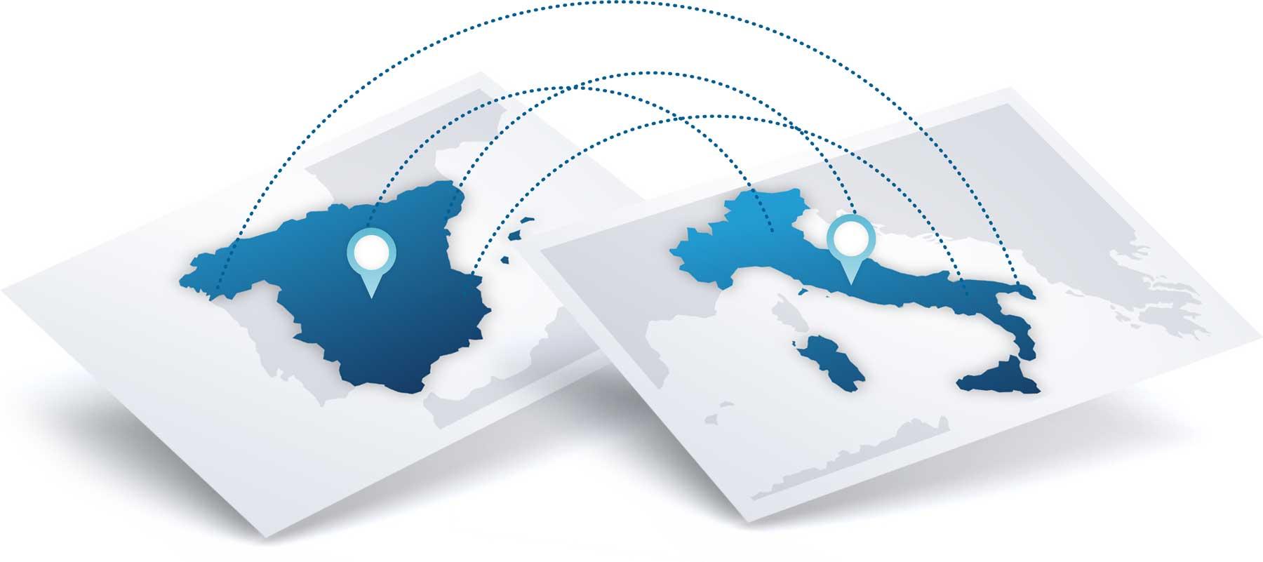 Oficinas en Italia y en España